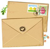 Easter envelope and stamps royalty free stock images
