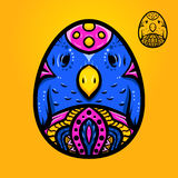 Easter ethnic egg-bird. Easter egg, egg-bird ethno ornament, hand-drawn egg, hand-drawn bird stock illustration