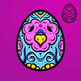 Easter ethnic egg-bird. Easter egg, egg-bird ethno ornament, hand-drawn egg, hand-drawn bird royalty free illustration