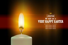 Easter exquisite textural composition with a bright burning candle,. Postcard royalty free illustration