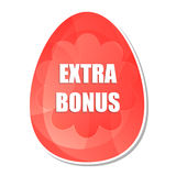 Easter extra bonus in easter egg with flowers. Easter extra bonus banner - red color egg label with spring daisy flowers, business shopping holiday concept, flat stock illustration