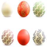 easter för vektorn som 3D ägg är fastställda med, skuggar stock illustrationer