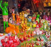Easter fair: products setting with bunnies, eggs, owl and frogs stock image