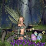 Easter Fairy. Digital render of an Easter Fairy and friendly squirrel finding (or hiding) Easter eggs in a woodland glade Stock Photos
