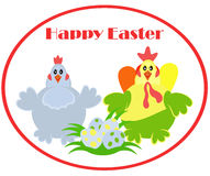Easter family. Chicken family. Cheerful characters symbolizes happy Easter. Illustration for postcard and greetings Stock Images
