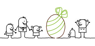 Easter & family. Vector hand-drawn characters on line Stock Image