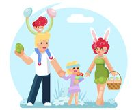 Easter family eggs collecting finding searching flat design vector illustration. Easter family eggs collecting searching finding flat design vector illustration Royalty Free Stock Image