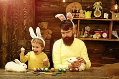 Easter family with fake bunny ears. stock images
