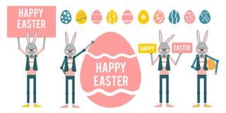Easter feliz Ajuste com coelhos dos desenhos animados com sinais em um branco Fotografia de Stock