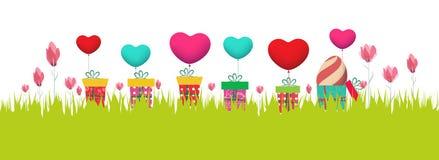 Easter feliz Bandeira da mola ilustração stock
