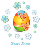 Easter feliz Cartão com a imagem do ovo da páscoa, multicolorido Ilustração Stock