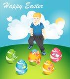 Easter feliz Cartão com imagem dos ovos da páscoa Ilustração Royalty Free