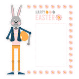 Easter feliz Coelho dos desenhos animados com ovo Cartões do molde Fotografia de Stock Royalty Free