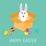 Easter feliz Coelho e ovos de coelho bonito Abra a caixa de presente de papel do pacote do cartão Projeto liso Imagens de Stock