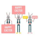 Easter feliz Coelhos dos desenhos animados com sinais diferentes molde Fotos de Stock Royalty Free