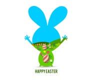 Easter feliz com coelho ilustração do vetor