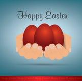 Easter feliz duas mãos que guardam ovos da páscoa vermelhos Eps 10 Vetor Imagens de Stock