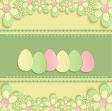 Easter feliz floresce o verde amarelo da mola 3D do ovo Fotografia de Stock Royalty Free