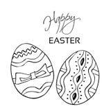 Easter feliz A linha preta eggs, mão tirada no fundo branco Listras, pontos e fita decorativos Ícones felizes de easter com decor Fotografia de Stock Royalty Free