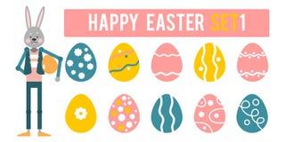 Easter feliz O coelho dos desenhos animados apresenta um grupo diferente de ovos Imagem de Stock Royalty Free