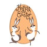 Easter feliz O interior da lebre do coelho de coelho pintou a janela do quadro do ovo Personagem de banda desenhada bonito Cartão ilustração stock