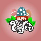 Easter feliz O texto é feito a mão ao estilo da rotulação Imagens de Stock