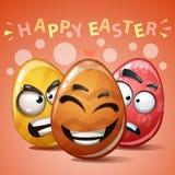 Easter feliz, ovo ajustado da cor ilustração royalty free