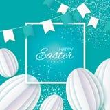 Easter feliz Ovo da páscoa do corte do Livro Branco, bandeiras Frame quadrado Imagens de Stock Royalty Free