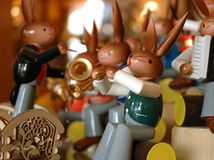 Easter festival band. Wooden rabbit is the typical decoration in easter day. These rabbit band is from dresden germany Stock Image