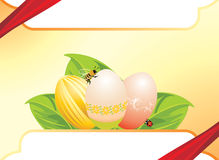 Easter festive background. Easter eggs, leaves with ladybird and bee. Festive background. Illustration Royalty Free Stock Photography