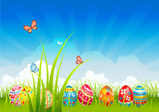 Easter  festive background. With eggs Royalty Free Stock Images