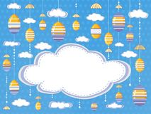 Easter festive background or poster with clouds and hanging decorative  eggs  on the sky background with empty space for text stock illustration