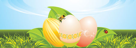 Easter festive banner. Easter eggs, leaves with ladybird and bee. Festive banner. Illustration Royalty Free Stock Photos