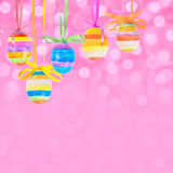 Easter bokeh background with eggs Royalty Free Stock Photo
