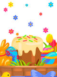 Easter Festive Flat Vector Concept with Sweets. Easter festive concept with sweet paschal kulich, chocolate bunny, painted eggs and tulips in wicker basket Royalty Free Stock Photo