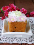 Easter festive fruitcake with flowers Royalty Free Stock Photo