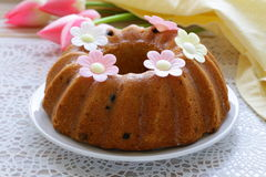 Easter festive fruitcake with flowers Stock Image