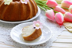 Easter festive fruitcake with flowers Royalty Free Stock Photography