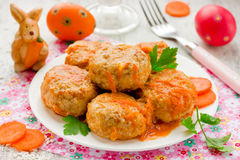 Easter festive meal meatballs in a sauce of carrots Stock Photo