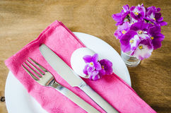 Easter Festive Table Setting With Fresh Flower. Royalty Free Stock Photography