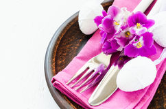 Easter Festive Table Setting With Fresh Flower. Stock Photography