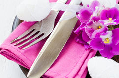 Easter Festive Table Setting With Fresh Flower. Royalty Free Stock Image