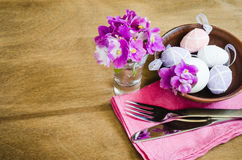 Easter Festive Table Setting With Fresh Flower. Stock Image