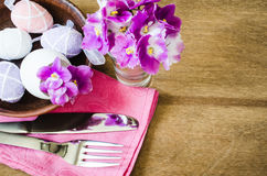 Easter Festive Table Setting With Fresh Flower. Stock Photo