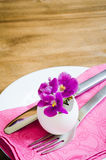 Easter Festive Table Setting With Fresh Flower. Stock Photos