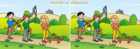 Easter - find 10 differences. A game for children and adults - a 10 differences. Easter theme Stock Image
