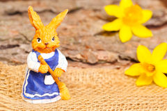 Easter finery. Woman easter bunny returns with the broom Royalty Free Stock Photography