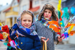Easter in Finland. Kids outdoors dressed for Easter traditional celebration in Finland Stock Images