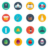 Easter Flat Design Round Vector Icon Set. Collection of 20 Happy Easter. Easter Flat Design Round Vector Icon Set. Collection of 20 Happy Easter vector illustration