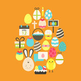 Easter Flat Icons Set Egg shaped over orange Royalty Free Stock Image